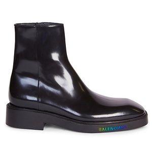 BALENCIAGA Black Leather LED Logo Boots NIB